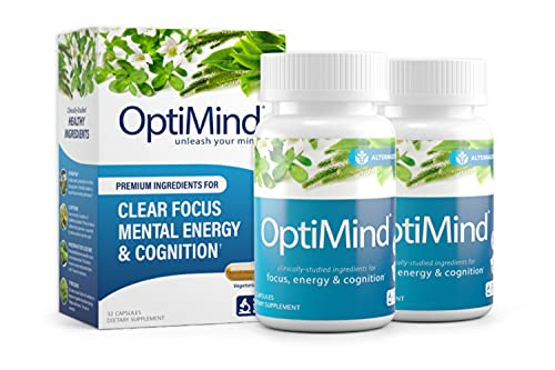 OptiMind Nootropics Premium Brain Booster Supplement   Enhance Your Focus and Energy   Caffeine   L Tyrosine   Taurine   Vitamins D & B 12   As Seen on Netflix - 2 Bottles, 32 Count Each