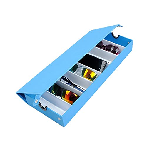 Lshbwsoif Caja de almacenamiento para gafas, 8 rejillas, gafas de sol, caja de almacenamiento para exhibir joyas, estuche para gafas de sol (tamaño 48,5 x 16,5 x 6 cm, color: azul)