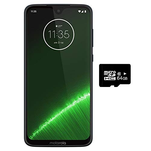 Motorola Moto G7+ Plus (64GB + 64GB SD Bundle) NFC, Dual SIM 6.2' 4G LTE (GSM Only) Factory Unlocked - US & Global 4G LTE International Model XT1965-2 (Deep Indigo)
