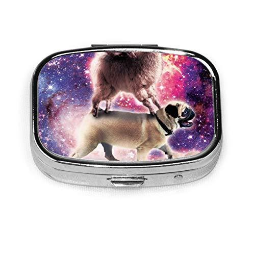 Cat Llama Pug Ice Cream Custom Fashion Silver Square Pill Box Medicine Tablet Holder Wallet Organizer Case For Pocket Or Purse Vitamin Organizer Holder Decorative Box