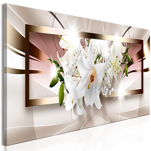 decomonkey Bilder Blumen Abstrakt 120x40 cm 1 Teilig Leinwandbilder Bild auf Leinwand Vlies Wandbild Kunstdruck Wanddeko Wand Wohnzimmer Wanddekoration Deko Lilie weiß braun beige