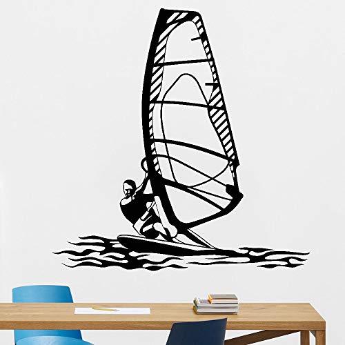 Windsurf Deportes acuáticos Pared calcomanía Gimnasio Art Deco Windsurfer Vinilo Pared Pegatina 85X84cm