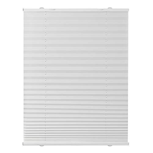 Lichtblick Plissee Haftfix, 85 x 130 cm (B x L) in Weiß, ohne Bohren, moderner Sicht-, Blend- und Sonnenschutz in Crush-Optik, lichtdurchlässig & Blickdicht
