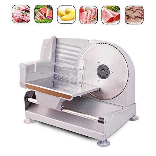 Safe Operation Electric Food Slicer Machine with Adjustable Thickness Dial, Removable Stainless Steel Blade and Non-Slip Feet For Home Use,UK Plug
