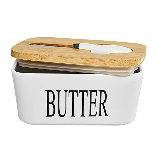 Gonioa Ceramic Butter Dish with Lid (650 ML), Large Airtight Butter Container Covered Butter Dish, Porcelain Butter Keeper Container with Bamboo Lid & Butter Knife