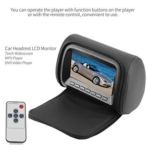 BWLZSP666 Monitor de reposacabezas de Coche, reposacabezas de Pantalla Ancha de Coche de 7 Pulgadas Monitor LCD Pantalla de visualización MP5 Control Remoto 12V Accesible a DVD