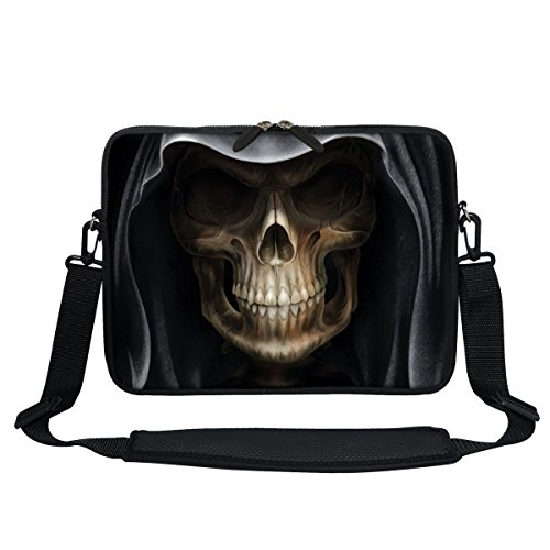 Meffort Inc 13 13.3 Inch Neoprene Laptop Sleeve Bag with Hidden Handle & Shoulder Strap Fits Up to 13.3 Inch Size Notebook Computer - Skull Design