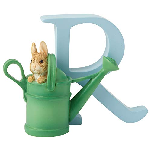"""Peter Rabbit, Figura de coneja en regadera y Letra """"R"""" para colgar, Home Deco, Enesco"""