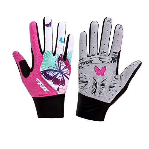DuShow Guantes de ciclismo para mujer con dedos completos, color rosa con...