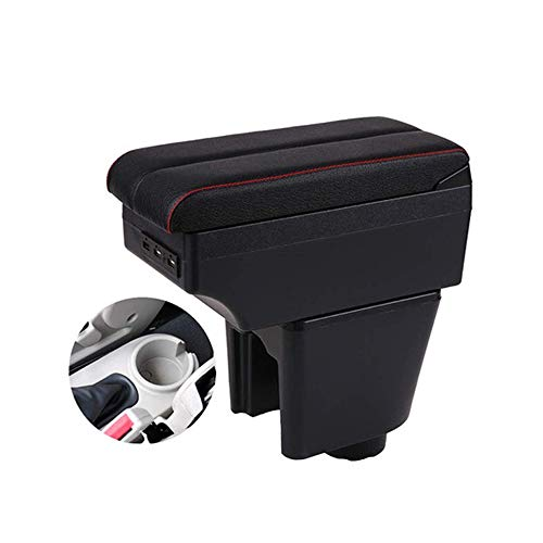 KYLN Apoyabrazos Central Caja, para Renault Clio 3 Captur Contenedor de Almacenamiento Central para Coche con función de Carga Puertos USB