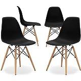Home Heavenly®- Pack 4 sillas Comedor salón Modelo NÓRDICA, con Pata de Madera, Silla Basic en Blanco o Gris envío Desde España (Black)
