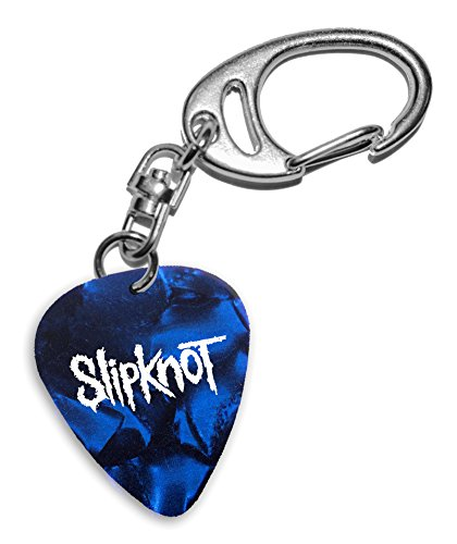 Slipknot Band Logo Gitarre Plektrum Blue Pearl Keyring Schlüsselanhänger (H)