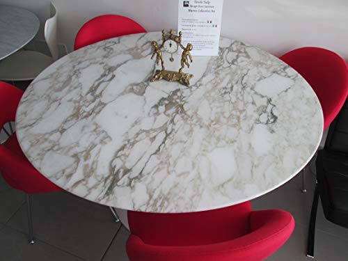 Table Tulip Ronde cm 90 marbre Calacatta Or Base Blanche
