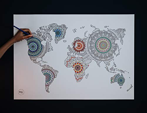Weltkarte mit Mandalas zum Ausmalen - mit Buntstifte oder Fineliner - 44 x 64cm - Malen Erwachsene - Mandalas für Erwachsene - Geschenke für Reisende - Mandala Designer