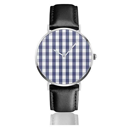 Reloj de cuero azul marino y azul a cuadros de Ajedrez patrón unisex clásico casual moda reloj de cuarzo reloj de acero inoxidable con correa de cuero