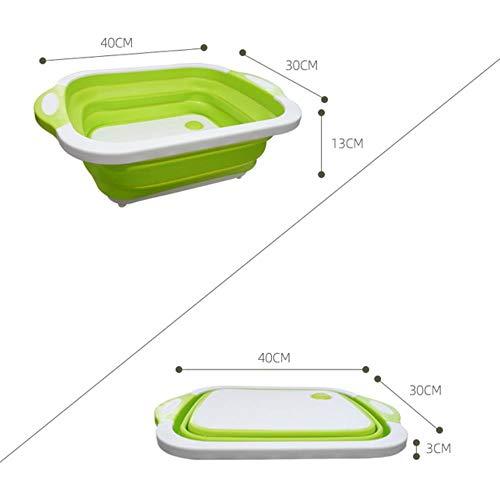 Piore Kitchen Hakblok Opvouwbare Snijplank met Vergieten Keuken Snijplanken Wasmand Afvoer Keuken, Wit Groen