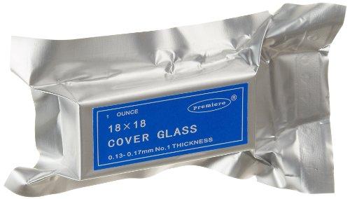 Premiere 94-1818 Square Cover Glass, 18 x 18mm Size, No. 1 Thickness (10oz.)