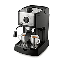 DeLonghi EC155 Pump Espresso and Cappuccino Maker, 220 to 240-volt 16 Not For use in USA & Canada Use convenient pods or ground coffee with the patented dual function filter holder Easily prepares latte and cappuccino with the swivel jet frother, for perfect drinks every time