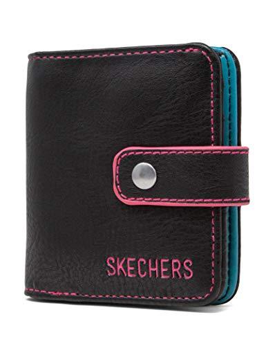 Skechers Donna RFID Blocking Mini Bifold Wallet, Black Edge, taglia unica