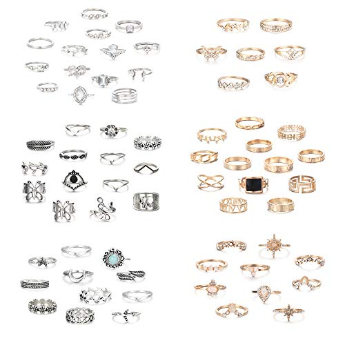 Finrezio 70Pcs Knuckle Stacking Rings for Women Bohemian Vintage Stackable Midi Finger Rings Set Hollow Carved Flowers Gold & Silver Rings Butterfly Moon Flower Sanskrit Crystal Joint Rings Set