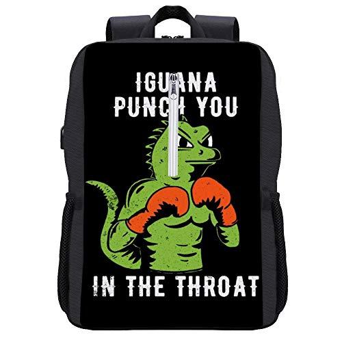 Iguana Punch You in The Throat Rucksack Daypack Bookbag Laptop Schultasche mit USB-Ladeanschluss