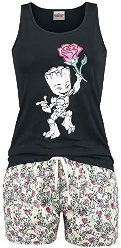 Guardianes De La Galaxia Groot - Floral Mujer Pijama Multicolor XXL, 100% algodón,
