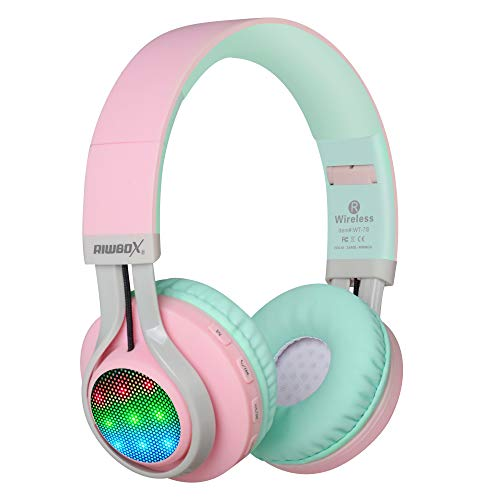 Riwbox WT-7S Kids Headphones Bluetooth, LED Light Up Foldable Stereo wireless Headphones with Microphone and Volume Control for PC/iPhone/TV/iPad (Pink&Green)