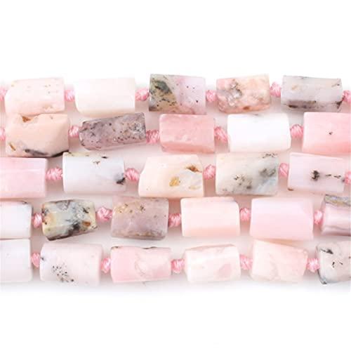8 x 10 mm natural facetado gema rosa ópalo piedra perla cilindro espaciador suelto perlas para hacer joyas DIY pendientes pulseras 7.5 pulgadas Strand