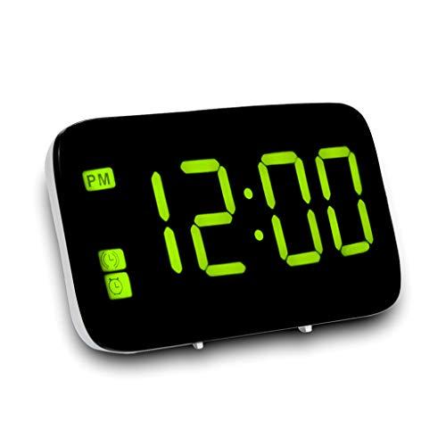 Tensay LED Digital Wecker Große LED Digital Alarm Snooze Clock Sprachsteuerung Zeitanzeige 5 zoll Bildschirm - Grün