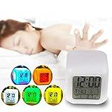 Leuchtender LED Wecker mit Kalender, Uhrzeit & Temperaturanzeige; Cube-Wecker mit Display (LED-Cube Wecker)