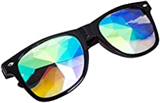 STLY Kaleidoscope Glasses Rainbow Rave Prism Diffraction Googles (Black-1)