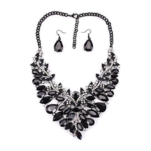 ZCPCS Aleación Americana Flores de Diamante Completo Accesorio de Gota de Agua Negra de Gota Negra de Gota de Agua Conjuntos de Orejas de Oreja (Color : Black)