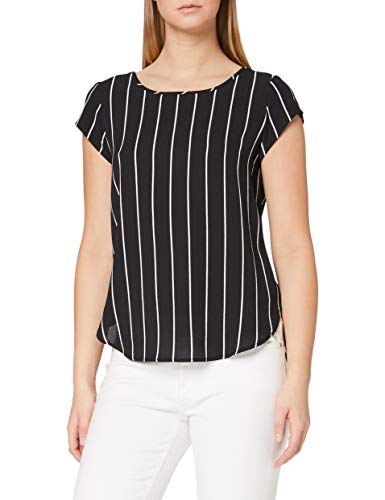 Only Onlvic SS AOP Top Noos Wvn Camiseta sin Mangas, Multicolor (Black Stripes: W. Cloud Dancer Ss19), 36 (Talla del Fabricante: 34) para Mujer