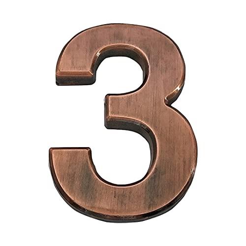 Zayookey 7cm Numero di Casa Moderna Numero di cassetta postale di autoadesivo 3D Address House Numbers utilizzato per in Porte, Pareti, Hotel (Numero 3)
