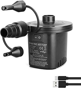 Deeplee Pompe à air électrique, gonfleur électrique Rechargeable à Remplissage, Rapide pour gonflage / dégonflage de Matelas Gonflable, 3 Embouts et Adaptateur USB 5V Inclus