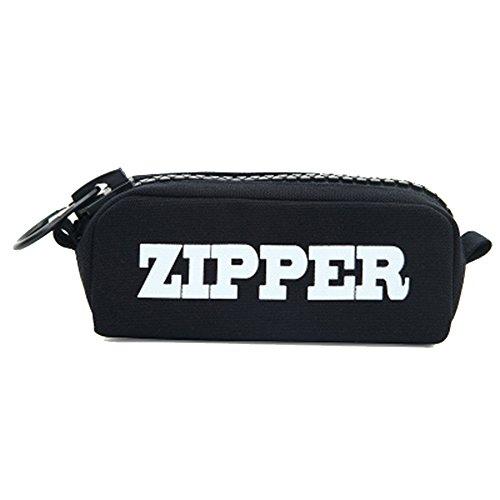 JUNGEN Estuche de Lápiz de moda Bolso de la pluma de la capacidad grande con patrón'zipper' bolso del lápiz de lona bolsas de papelería para estudiantes (Negro)
