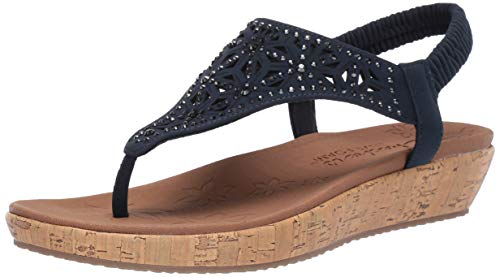 Skechers Women's Brie-Dally-Laser Cut Rhinestone Hooded Slingback Sandal, Navy, 7.5 M US