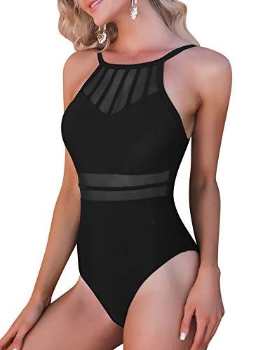 Aibrou Bañadores para Mujer,2021 Trajes de Baño de Una Pieza Correas traseras Vendaje Bañadores Sexys Cuello en Redondo Playa Monokin (Negro,L)