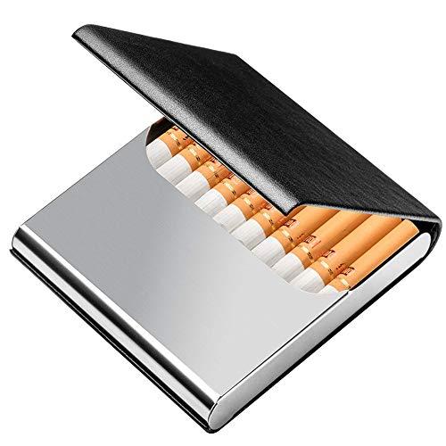 シガレットケース キングサイズ タバコ10本収納 レザー タバコケース PU革&ステンレス オシャレ ビジネス Tenfel タバコボックス 男女兼用