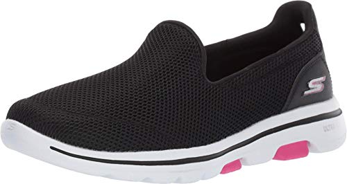 Skechers Go Walk 5 Slip On, Zapatillas Mujer, Negro (Black Textile/Trim BKHP), 38 EU