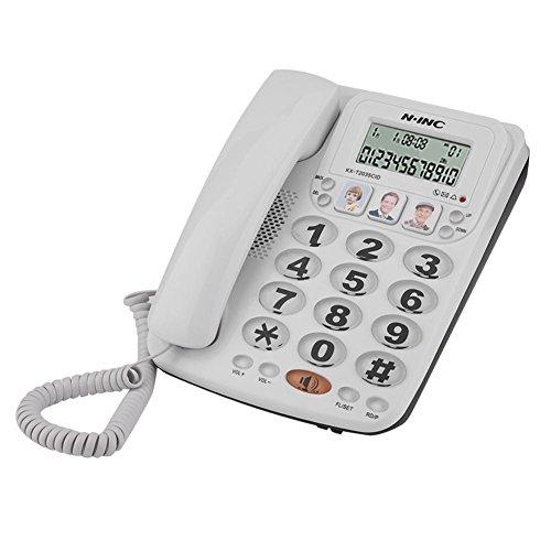 Richer-R Teléfono con Cable de 2 líneas,Teléfono Fijo,Teléfono de Sobremesa con Teclas Grandes y Altavoz,Marcación Rápida,Volver a Marcar,Cancelación de Ruido,Identificación de Llamadas,Silencio