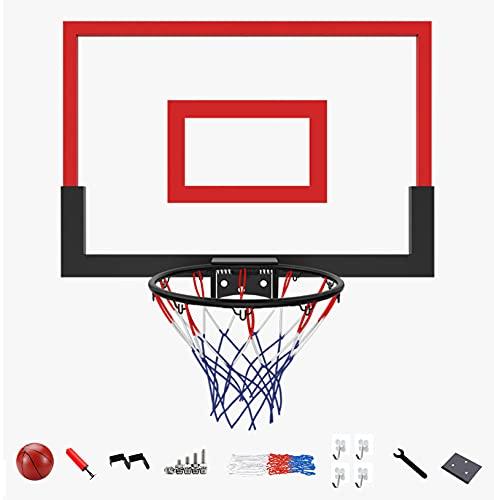 AHIN Canasta Baloncesto Pared, Aro Baloncesto, Marco De Cesta De Resorte, Instalación Sin Perforaciones, 59 * 40 Cm, Adecuado para Una Variedad De Escenas,Rojo