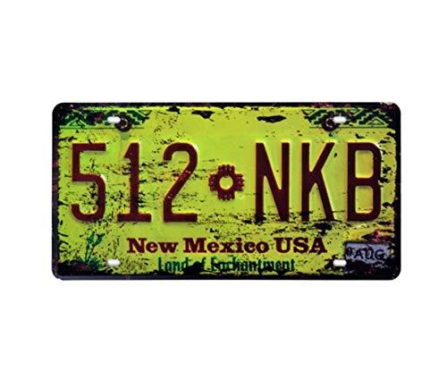 Eureya Placa de Metal hogar, cafetería, Bar, decoración de Pared, Coche, Coche, matrícula,Recuerdo,512 Nkb New Mexico USA,30X15cm