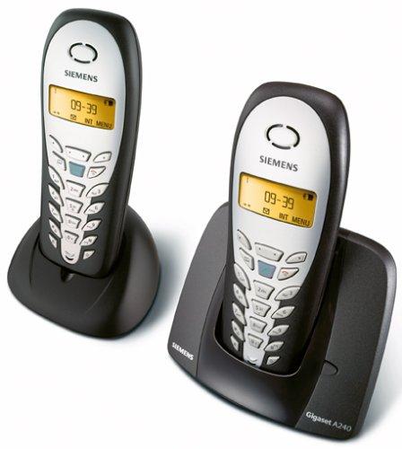 Siemens Gigaset A240 duo espresso mit zusätlichem Mobilteil und Ladeschale, schnurlos Telefon DECT, Anruferanzeige CLIP, Freisprechen