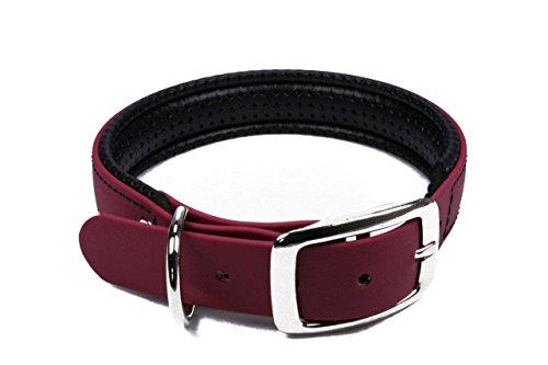 LENNIE BioThane Halsband, gepolstert, Dornschnalle, 25 mm breit, Größe 44-52 cm, Weinrot, Aufdruck möglich