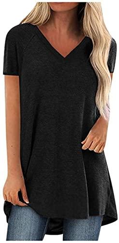 Tops de talla grande para chicas adolescentes Color sólido Hem Tee manga corta cuello en V camisa mujer primavera camiseta
