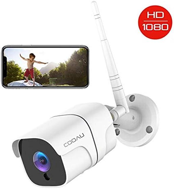 Cámara de Vigilancia Exterior COOAU Cámara de Seguridad Wi-Fi 1080P Versión Nocturna 25M Impermeable IP66 Detección de Movimiento Empuje de Alarma Vista Remota con Android/iOS/PC