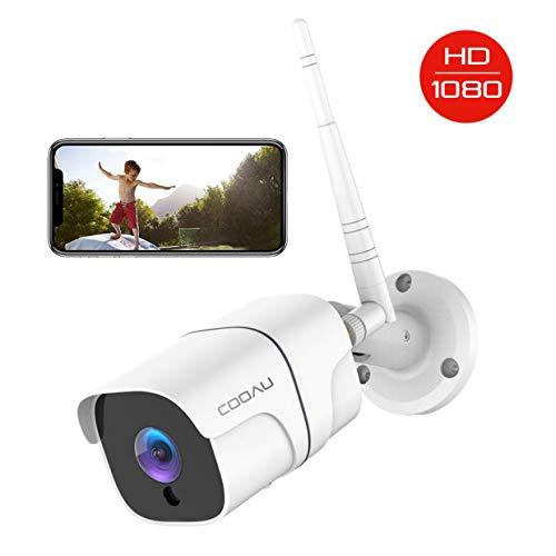 Cámara de Vigilancia Exterior, COOAU Cámara de Seguridad Wi-Fi 1080P, Versión Nocturna 25M, Impermeable IP66, Detección de Movimiento, Empuje de Alarma, Vista Remota con Android/iOS/PC