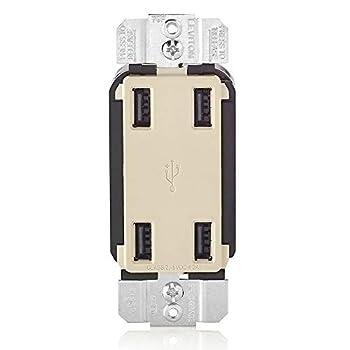 Leviton USB4P-T 4.2-Amp High Speed 4-Port USB Charger Light Almond
