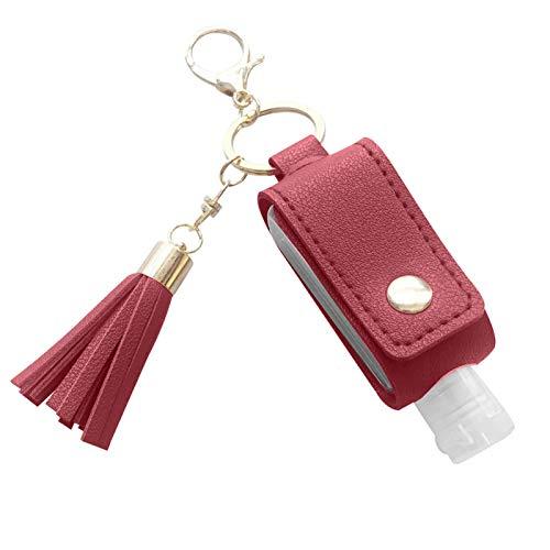 Ruby569y Llavero portátil con 30 ml rellenables vacíos botellas de viaje con bolsa colgante de piel sintética antipérdida, llavero para viajes al aire libre, escuela, vino rojo